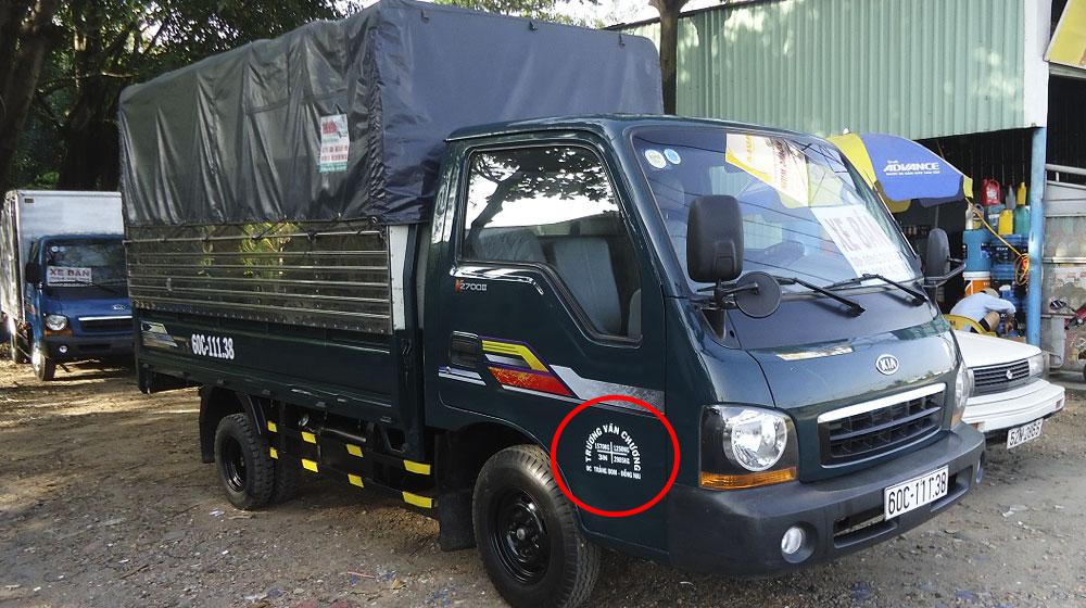 3N trên xe tải là được phép 3 người ngồi trong xe